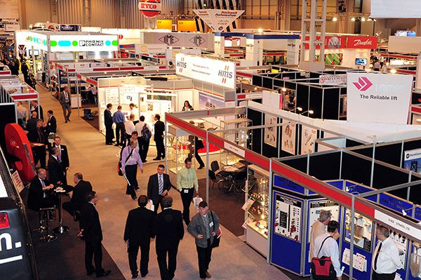 Photo of a busy exhibition